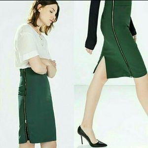 Zara Zipper Skirt Women's Small Stretch Green